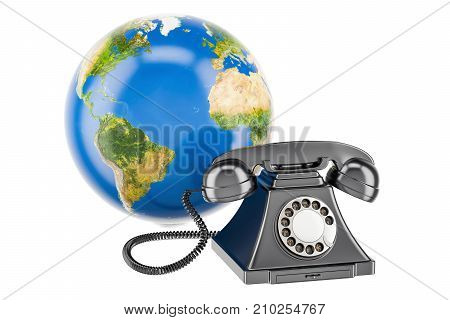 Globe Earth with phone global communication concept. 3D rendering isolated on white background