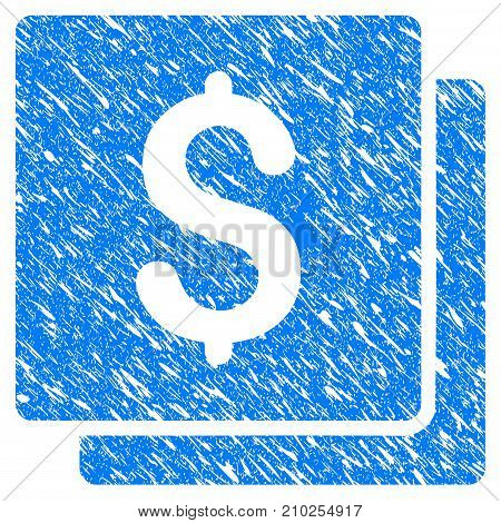 Grunge Finances icon with scratched design and dust texture. Unclean vector blue Finances pictogram for rubber seal stamp imitations and watermarks. Draft emblem symbol.