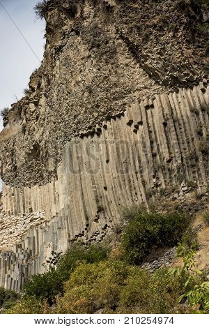 Rock formation basalt columns Symphony of the Stones near Garni in Armenia