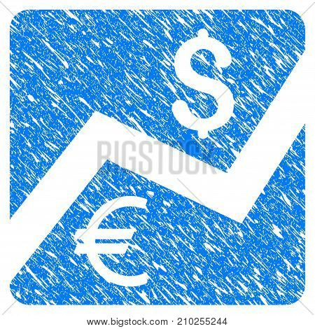 Grunge Financial Diagram icon with scratched design and scratched texture. Unclean vector blue Financial Diagram pictogram for rubber seal stamp imitations and watermarks. Draft sticker symbol.