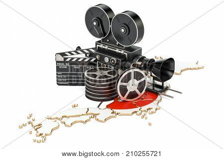 Japanese cinematography film industry concept. 3D rendering isolated on white background