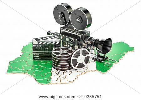 Nigerian cinematography film industry concept. 3D rendering isolated on white background