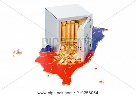 Safe box with golden coins on the map of Taiwan 3D rendering