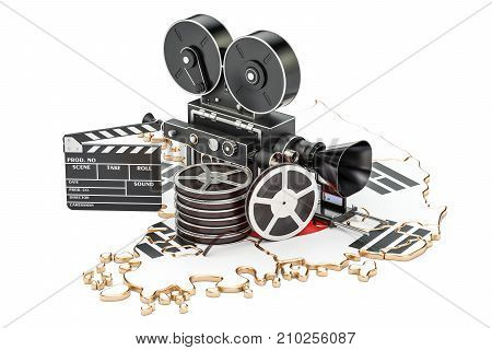South Korea cinematography film industry concept. 3D rendering isolated on white background