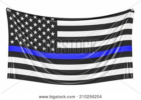 Thin Blue Line. Black Flag of USA with Police Blue Line hanging on the wall 3D rendering