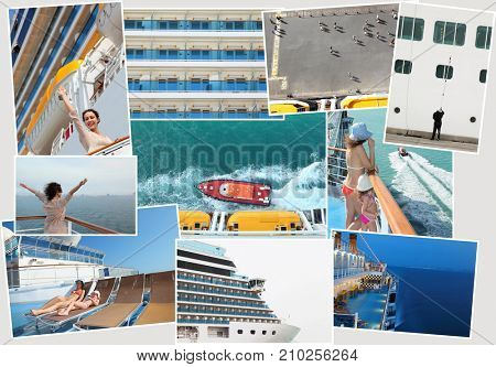 collage of pictures of cruise liner with woman and girl on ship