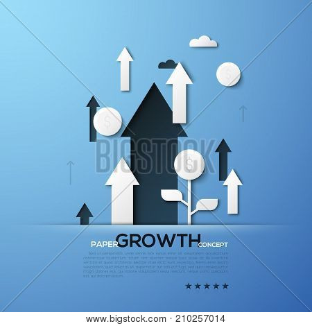 Growth paper concept. White silhouettes of arrows pointing upwards and dollar coins. Creative elements in simple style. Vector illustration for website banner, advertisement, presentation, brochure.