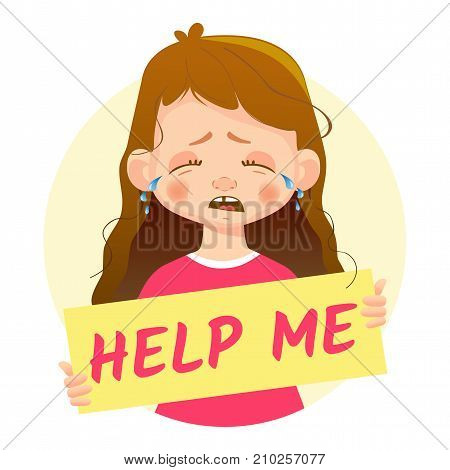 Help me message. Girl holding Help me poster.