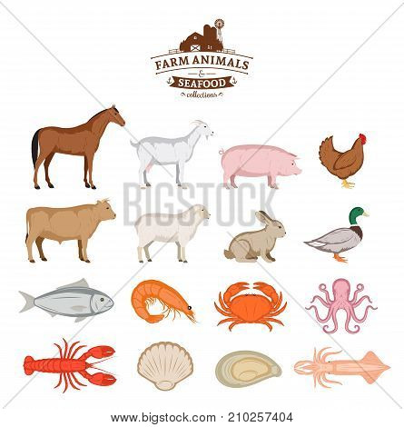 Vector farm animals and seafood silhouettes isolated on white. Livestock poultry and seafood icons collection for groceries meat stores and seafood shop