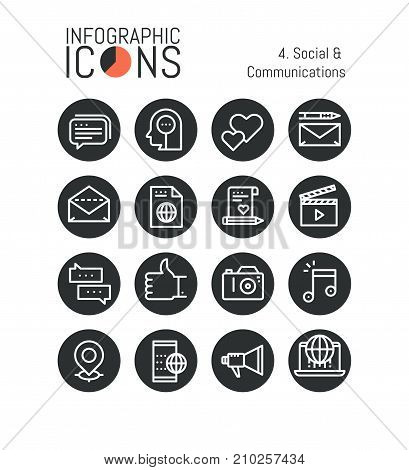 Set of modern thin line icons, social and communications: networks, internet media, video and photo blogging, online messaging, information sharing. Vector illustration for website, web page, banner.