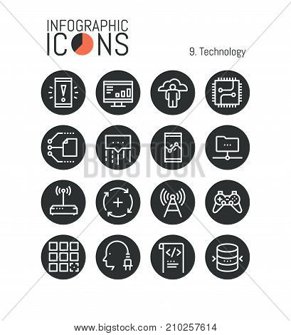 Bundle of modern thin line technology icons: integrated circuits, central processing units, electronic transmission, cloud services. Vector illustration for website, mobile application, presentation.