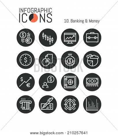Set of unique thin line icons, banking and money: investment, stock exchange rates, market trading, broker service, currencies. Vector illustration for website, brochure, mobile application, report.