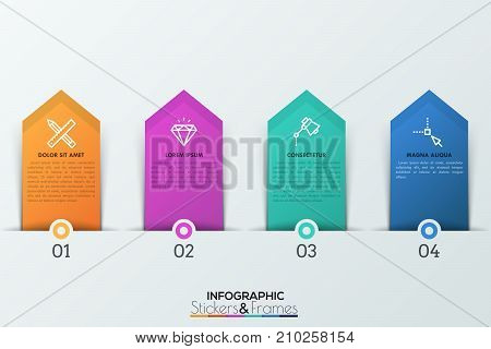 Four numbered tags with thin line icons and text boxes inside placed along horizontal line. 4 steps of project development concept. Infographic design template in realistic style. Vector illustration.