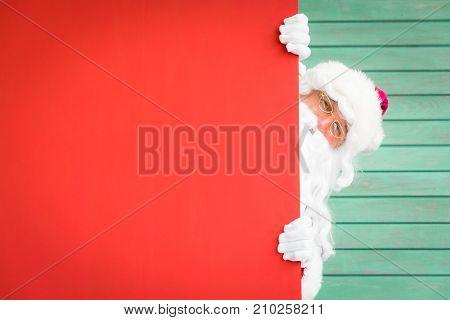 Santa Claus Holding Banner Blank