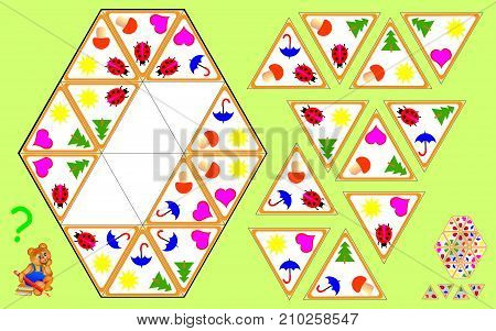 Logic Triominoes puzzle. Need to find four remaining triangles and to draw them at the correct places. Vector  cartoon image.