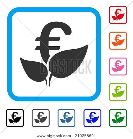 Euro Agriculture Startup icon. Flat gray iconic symbol inside a light blue rounded square. Black, gray, green, blue, red, orange color additional versions of Euro Agriculture Startup vector.