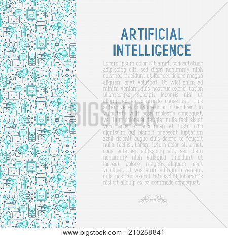 Machine learning and artificial intelligence concept with thin line icons. Vector illustration for banner, web page, print media.