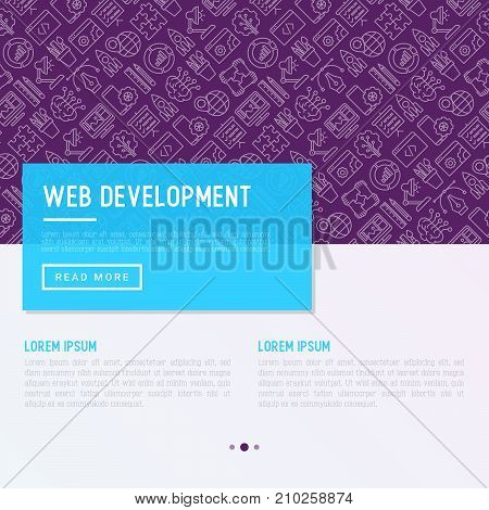 Web development concept with thin line icons of programming, graphic design, mobile app, strategy, artificial intelligence, optimization, analytics. Vector illustration for banner, web page.