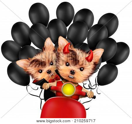 Funny cartoon animal Dracula and Devil sit in black bike with balloon. Halloween and Dead day concept. Realistic 3D illustration.