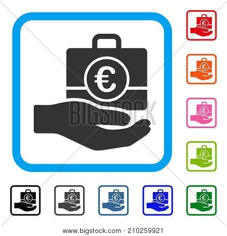 Euro Banking Service Hand icon. Flat gray iconic symbol in a light blue rounded squared frame. Black, gray, green, blue, red, orange color additional versions of Euro Banking Service Hand vector.