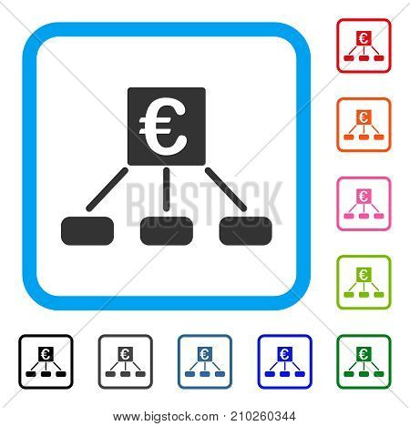 Euro Distribution Links icon. Flat gray iconic symbol in a light blue rounded frame. Black, gray, green, blue, red, orange color variants of Euro Distribution Links vector.