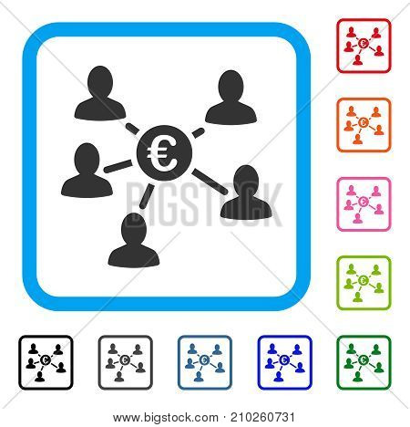 Euro Social Links icon. Flat grey pictogram symbol in a light blue rounded frame. Black, gray, green, blue, red, orange color additional versions of Euro Social Links vector.