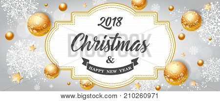 2018 Christmas and Happy New Year lettering. Beautiful inscription with flying balls and snowflakes. Handwritten text, calligraphy. Can be used for greeting cards, posters and leaflets