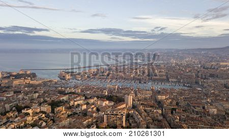 Aerial morning view in old port, the natural harbour of the city and the main popular place in Marseille