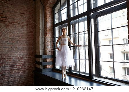 Picture of gorgeous elegant young woman ballet dancer with slim perfect body wearing white skirt and pointes posing at big window in studio standing on toes while practicing hard before perfomance