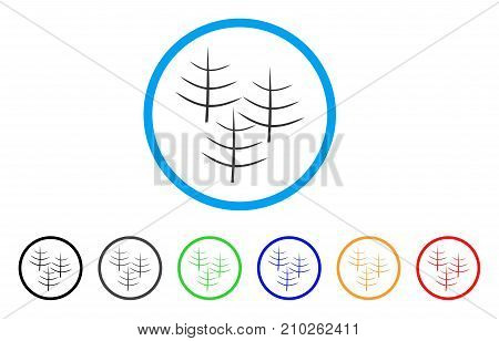 Dead Forest rounded icon. Style is a flat grey symbol inside light blue circle with additional colored versions. Dead Forest vector designed for web and software interfaces.