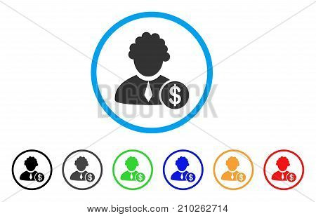 Financial Judge rounded icon. Style is a flat gray symbol inside light blue circle with additional colored versions. Financial Judge vector designed for web and software interfaces.