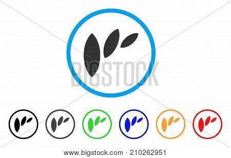 Flora Leaf Abstraction rounded icon. Style is a flat gray symbol inside light blue circle with bonus colored variants. Flora Leaf Abstraction vector designed for web and software interfaces.