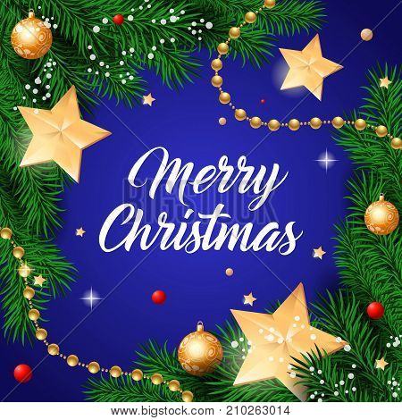 Merry Christmas lettering. Beautiful inscription with big toy stars on twigs. Handwritten text, calligraphy. Can be used for greeting cards, posters and leaflets