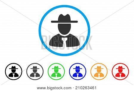 Gentleman rounded icon. Style is a flat grey symbol inside light blue circle with bonus color versions. Gentleman vector designed for web and software interfaces.