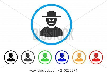 Malevolent Gentleman rounded icon. Style is a flat gray symbol inside light blue circle with additional colored versions. Malevolent Gentleman vector designed for web and software interfaces.