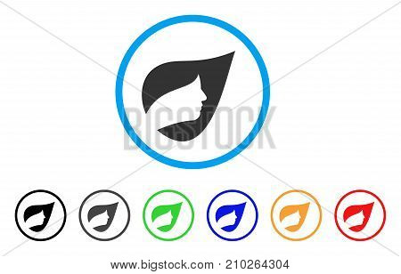 Natural Herbal Cosmetics rounded icon. Style is a flat grey symbol inside light blue circle with bonus color versions. Natural Herbal Cosmetics vector designed for web and software interfaces.