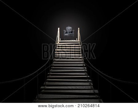 Rope bridge to the royal chair. Success concept. 3d rendering