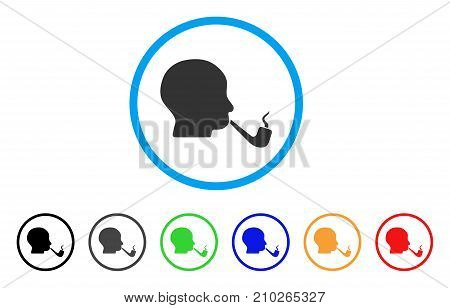 Smoking Detective rounded icon. Style is a flat gray symbol inside light blue circle with bonus colored variants. Smoking Detective vector designed for web and software interfaces.