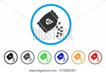 Sow Seed Pack rounded icon. Style is a flat gray symbol inside light blue circle with additional colored variants. Sow Seed Pack vector designed for web and software interfaces.