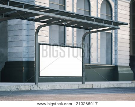 Bus stop with old billboard on the street. 3d rendering