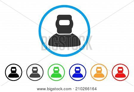 Welder rounded icon. Style is a flat gray symbol inside light blue circle with bonus color versions. Welder vector designed for web and software interfaces.
