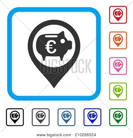 Euro Bank Pointer icon. Flat gray iconic symbol in a light blue rounded frame. Black, gray, green, blue, red, orange color variants of Euro Bank Pointer vector. Designed for web and software UI.