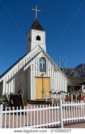 November 27 2015 Apache Junction Arizona: The Elvis Memorial Chapel is a movie prop that was built for the 1969 Elvis Presley western Charro!