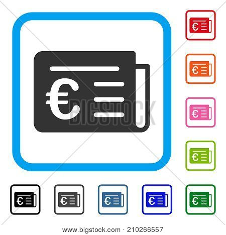 Euro Banking News icon. Flat grey pictogram symbol inside a light blue rounded square. Black, gray, green, blue, red, orange color additional versions of Euro Banking News vector.