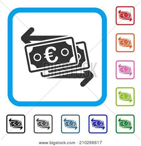 Euro Banknotes Change icon. Flat gray iconic symbol inside a light blue rounded square. Black, gray, green, blue, red, orange color versions of Euro Banknotes Change vector.