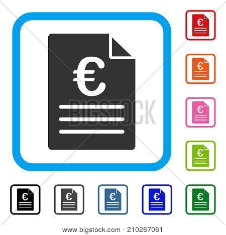 Euro Document icon. Flat grey iconic symbol in a light blue rounded rectangular frame. Black, gray, green, blue, red, orange color variants of Euro Document vector. Designed for web and app UI.