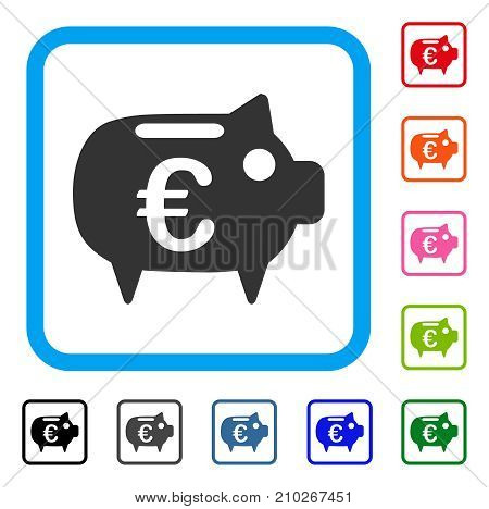 Euro Piggy Bank icon. Flat gray iconic symbol inside a light blue rounded squared frame. Black, gray, green, blue, red, orange color additional versions of Euro Piggy Bank vector.