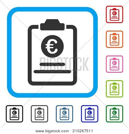 Euro Prices Pad icon. Flat grey pictogram symbol in a light blue rounded square. Black, gray, green, blue, red, orange color variants of Euro Prices Pad vector. Designed for web and software UI.