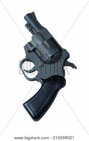 Black revolver gun isolated on white background