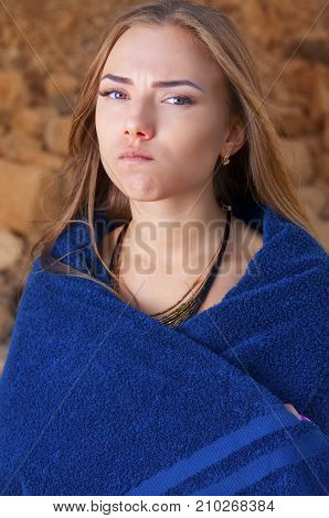 Girl In A Blue Towel With Funny Face